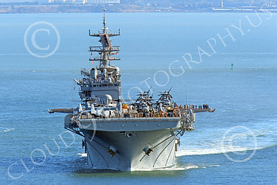 USNWS 00010 Head-on view of the USS Bonhomme Richard (LHD-6), a US Navy amphibious assault ship, seen under power in San Francisco Bay, by Peter J Mancus