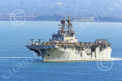 USNWS 00055 The USS Bonhomme Richard (LHD-6), a US Navy amphibious assault ship, seen under power in San Francisco Bay, by Peter J Mancus