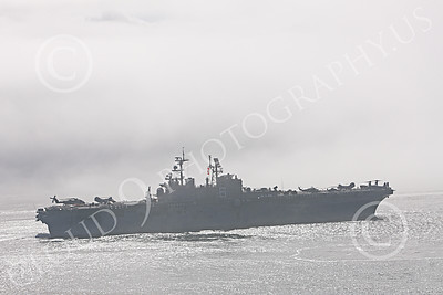 USNWS 00080 Right side of the USS Bonhomme Richard (LHD-6), a US Navy amphibious assault ship, as it moves in San Francisco Bay, by Peter J Mancus