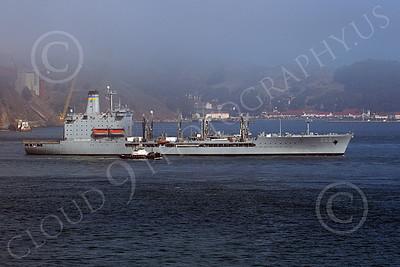 USNWS 00090 The US Navy's USS Guadalope (A0-32), A Cimarron-class fleet replenishment oiler, seen under way inside San Francisco Bay, by Peter J Mancus