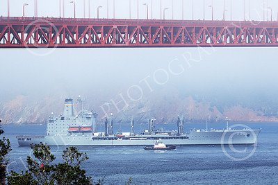 USNWS 00087 The US Navy's USS Guadalope (A0-32), A Cimarron-class fleet replenishment oiler, seen approaching the Golden Gate Bridge from the Pacific Ocean, by Peter J Mancus