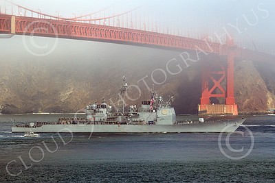 USNWS 00104 The US Navy's USS ANTIETAM (CG-54), a Ticonderoga-class guided missile cruiser, sails under the Golden Gate Bridge for Fleet Week, by Peter J Mancus
