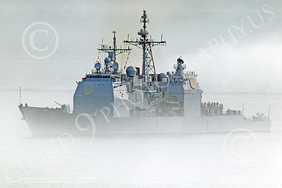 USNWS 00039 The USS Antietam (CG-54), a USN Ticonderoga-class guided missile cruiser, seen under power in fog in San Francisco Bay, by Peter J Mancus