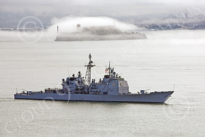 USNWS 00062 The USS Antietam (CG-54), a USN Ticonderoga-class guided missile cruiser, sails pass Alcatraz Island, in San Francisco Bay, by Peter J Mancus