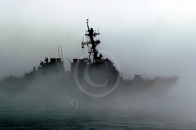 USNWS 00091 Side view of the US Navy's USS Milus, (DDG-69), an Arleigh Burke-class Aegis guided missile destroyer, in thick fog in San Francisco Bay, by Peter J Mancus