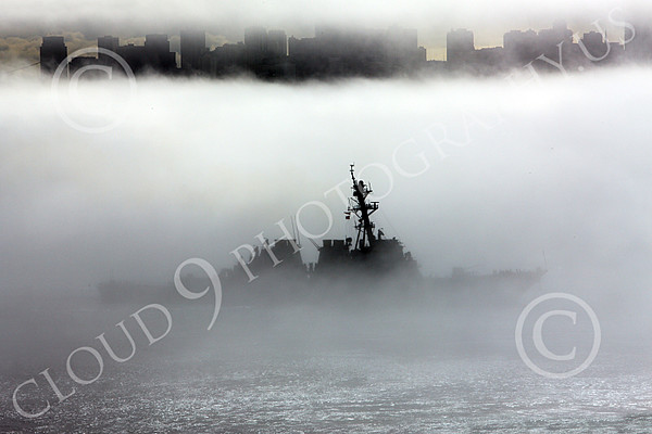 USNWS 00100 The US Navy's USS Milus, (DDG-69), an Arleigh Burke-class Aegis guided missile destroyer, in thick fog sails out of San Francisco Bay, by Peter J Mancus