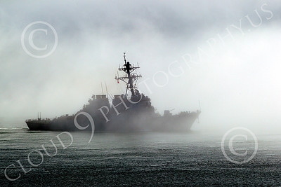 USNWS 00106 Side view of the US Navy's USS Milus, (DDG-69), an Arleigh Burke-class Aegis guided missile destroyer, under way in fog in San Francisco Bay, by Peter J Mancus