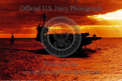 USS Kitty Hawk (CV-63) at sunset
