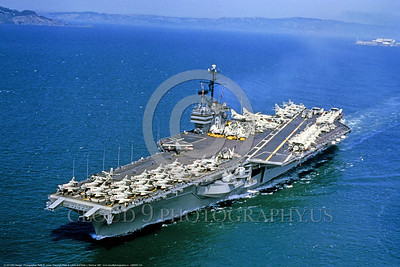 USNWS 00114 An aerial view of US Navy fossil fueled super aircraft carrier CV-61 USS Ranger in service from 1957 to 1993 when sold for scrapping, warship picture by Peter B  Lewis