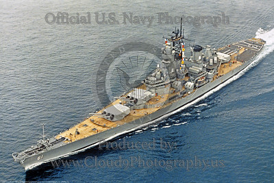 USNWS 00122 The US Navy super battleship USS Iowa (BB-61) under way circa mid-1980's, originally served from 1943-1949, official US Navy picture, produced by Cloud 9 Photography