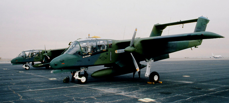 2 USAF OV-10's on ramp at El Centro, Ca Jan 1987.