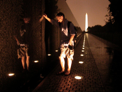 Kris..my son,  reflecting at the Vietnam Wall