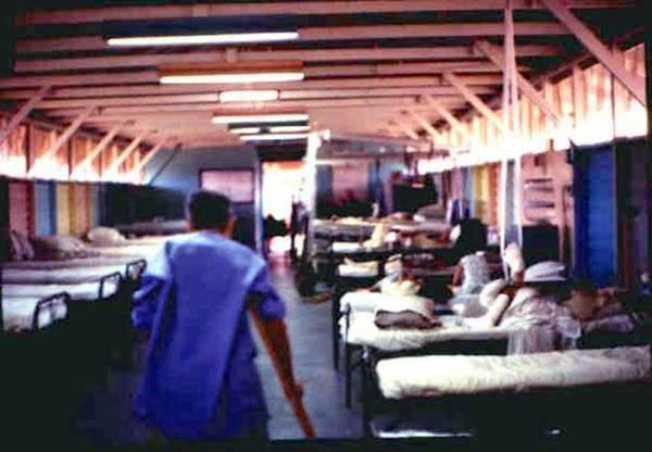 Children's ward at the 91st Evac Hospital  ..too many beds were occupied
