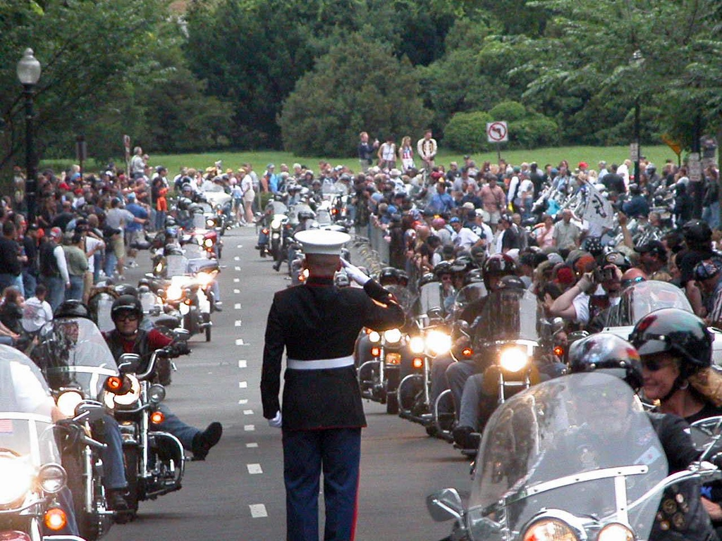 This photo provided by SGT TIM CHAMBERS USMC...The Marine who has honored  the Military when holding a salute for hours as Rolling Thunder..rides past