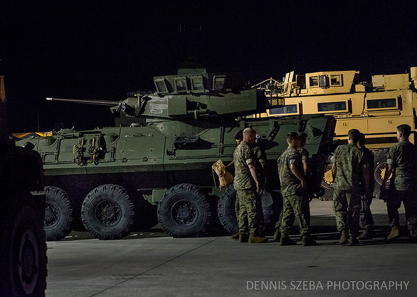 US Marines working at night. 2018