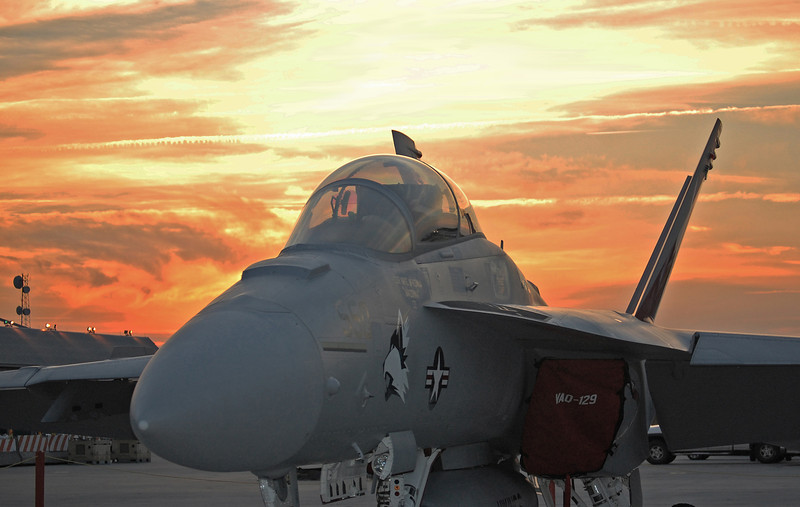 FA-18 sunset. MCAS Cherry Point, NC. 2010.