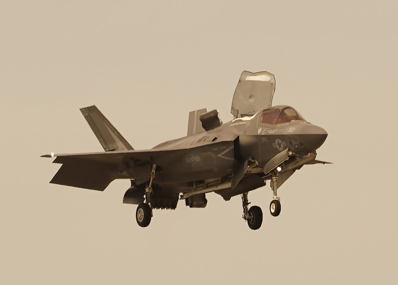 F-35 in hover mode with all flaps open. 2018