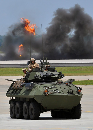 USMC LAV rolls down a runway during a firepower demonstration at MCAS New River. 2012.