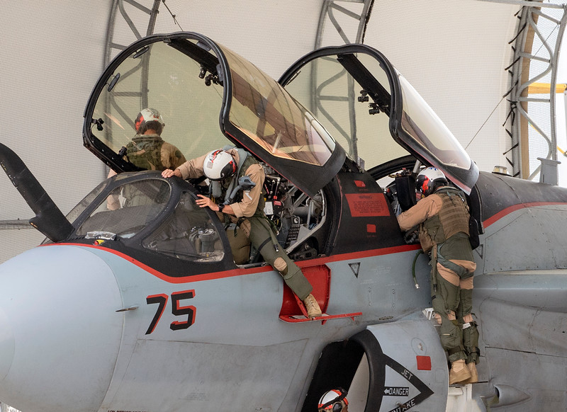 USMC EA-6B Prowler crew after a flight.