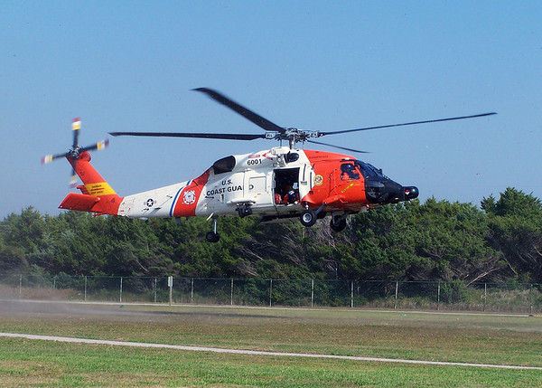 A US Coast Guard HH-60 comes in for a landing at Station Fort Macon, NC. 2008.