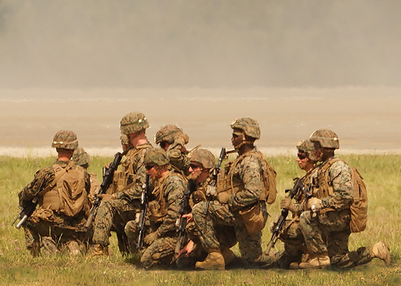 US Marines taking a break while waiting for transport. 2018