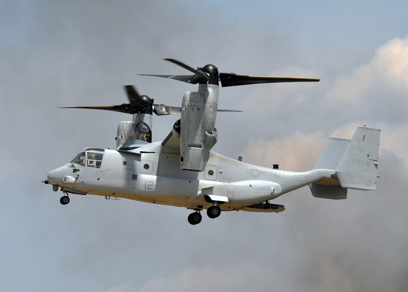 MV-22 'Osprey' in hover mode during exercises over Camp Lejeune, NC. 2012