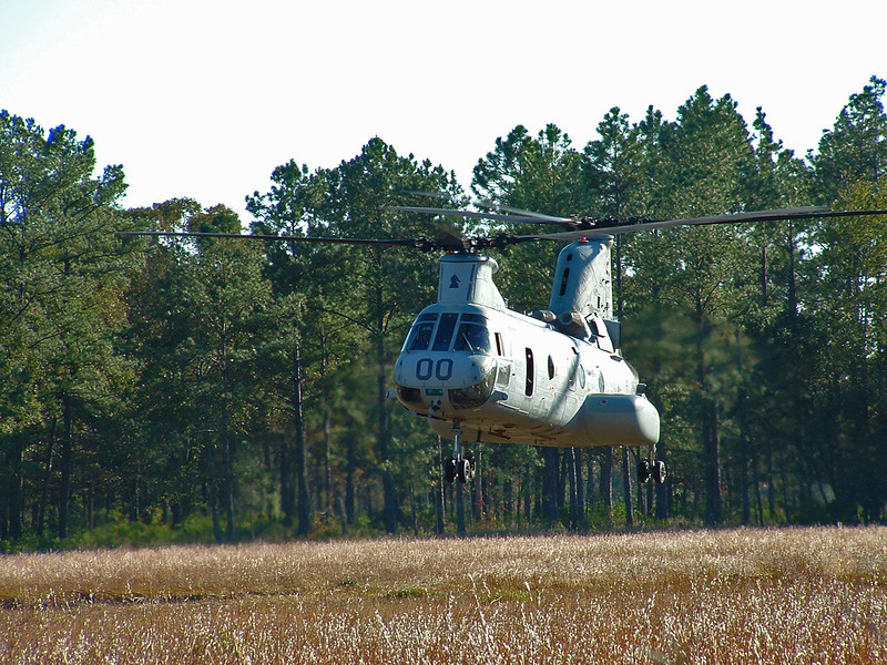 CH-46 landing in a clearing - Camp Lejeune, NC. 2005
