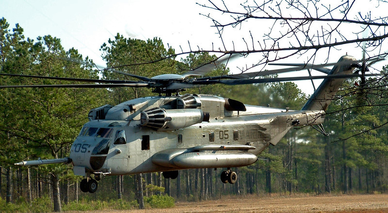 CH-53 taking off from a landing zone aboard Camp Lejeune, NC. 2005