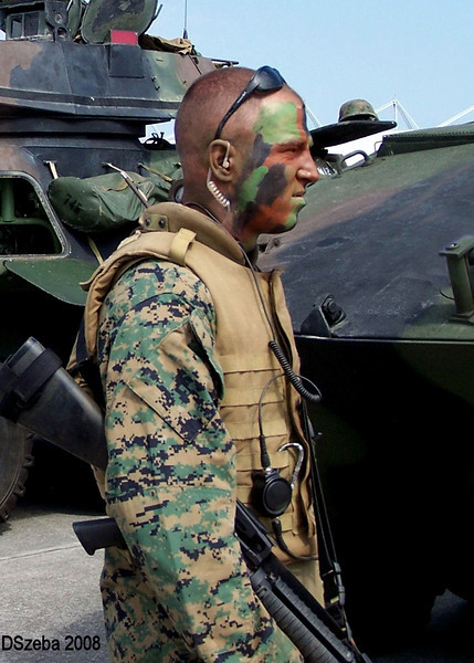 US Marine taking a break during a MAGTF demonstration. MCAS New River, NC 2008.