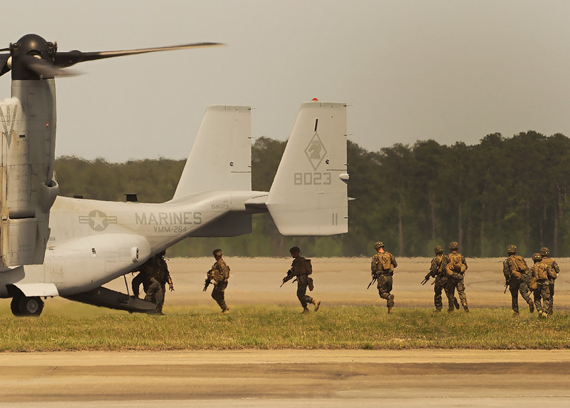 US Marines boarding an MV-22 Osprey. 2018