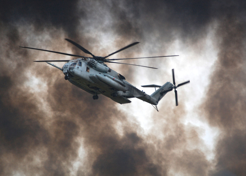 CH-53 flies through smoke during exercises aboard Camp Lejeune, NC, 2008