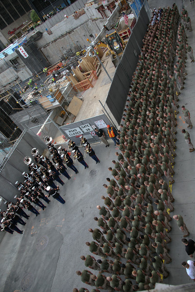 The Marine Forces Reserve Band plays during a ceremony at Ground Zero, New York City. The Marines of Special Purpose Marine Air Ground Task Force New York ran to Ground Zero where they laid a wreath to honor those who died in the 9/11 attack. (Official Marine Corps photo by Sgt. Steve Cushman)