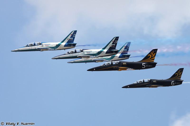 Авиационная группа высшего пилотажа Русь на самолетах Л-39 (Rus' aerobatics team)