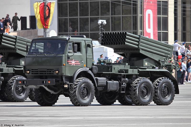 Боевая машина 2Б26 на шасси КАМАЗ-5350 РСЗО 9К51 Град (2B26 combat vehicle on KAMAZ-5350 base of 9K51 Grad MLRS)