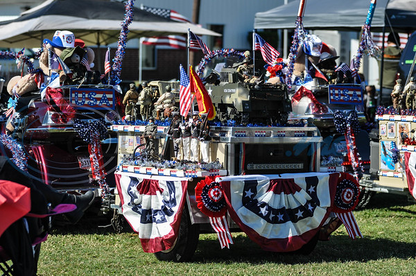 Motorcycles decorated with patriotism were on hand for the 19th annual Red, White and Blue Festival held in Bullard on Saturday, November 3. The festival recognizes and honors the sacrifices and service of veterans and active duty. (Jessica T. Payne/Tyler Morning Telegraph)