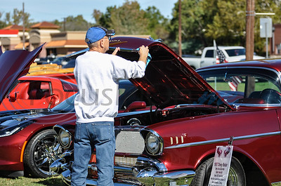 Brian Nabbs of Whitehouse polishes his 1957 Chevrolet Belair during the RWB Car Show as part of the 19th annual Red, White and Blue Festival. The event took place in downtown Bullard on Saturday, November 3. (Jessica T. Payne/Tyler Morning Telegraph)