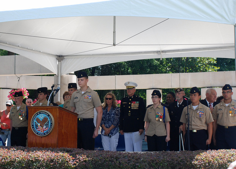 Members of the South Sumter High School NJROTC lead the Pledge of Allegiance.