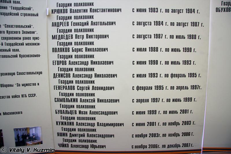 Командиры бригады за исключением нынешнего (Brigade commanders except present commander)
