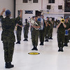 438 Squadron Band playing inside the hangar.