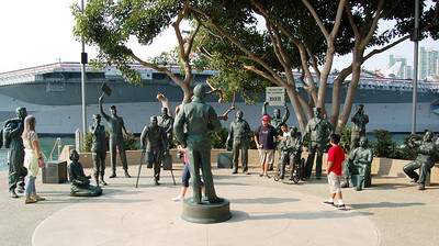 Bob with USO Show statues