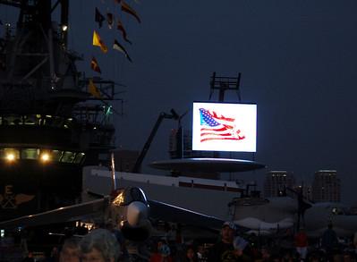 Huge Video screen behind Starboard Catapult