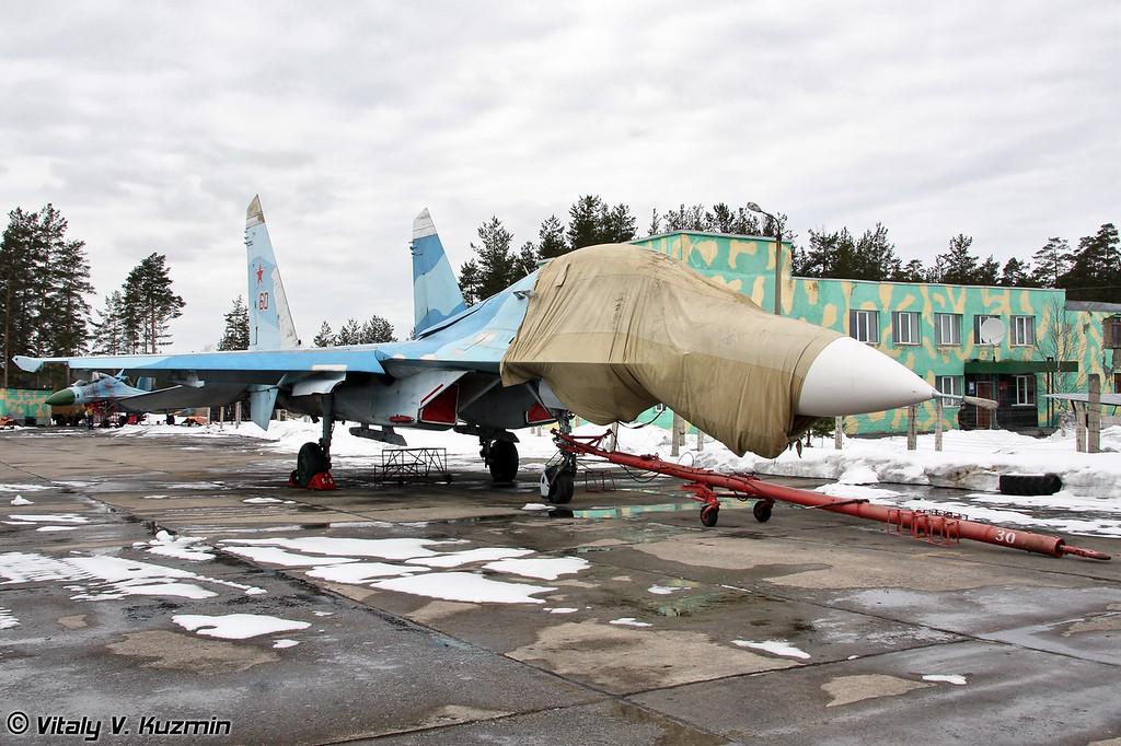 Су-27УБ бортовой номер 60 ожидает своей очереди на буксировку в ангар ТЭЧ (Su-27UB 60 Red)