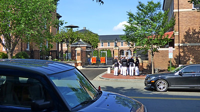 """Marine Barracks Washington Washington, D.C.  Marine Barracks United States of America Open to the publicBuilt 1801 In use1801 – present Battles/war  War of 1812  Burning of Washington Garrison information Ceremonial Companies A & B Marine Corps Silent Drill Platoon United States Marine Band U.S. Marine Drum and Bugle Corps Marine Corps Institute, U.S. Marine Corps Body Bearers OccupantsUnited States Marine Corps Commandant of the Marine Corps U.S. Marine Corps Barracks and Commandant's House U.S. National Register of Historic Places U.S. National Historic Landmark District Area6 acres Marine Barracks, Washington, D.C. is located at the corner of 8th and I Streets, Southeast in Washington, D.C. Established in 1801, it is a National Historic Landmark, the oldest post in the United States Marine Corps, the official residence of the Commandant of the Marine Corps since 1806, and main ceremonial grounds of the Corps. It is also home to the U.S. Marine Drum and Bugle Corps (""""The Commandant's Own"""") and the U.S. Marine Band (""""The President's Own""""). Barracks Marines conduct ceremonial missions in and around the National Capital Region as well as abroad. They also provide security at designated locations around Washington, D.C. as necessary, carry out the distance education and training program of the Marine Corps through the Marine Corps Institute, and Barracks officers are part of the White House Social Aide Program."""