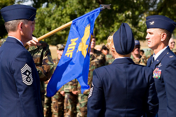 Maintenance Operations Flight guidon being encased