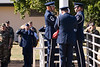 The 913th Airlift Wing Base Honor Guard lowers and folds the US Flag during the Wing's final retreat ceremony; 2