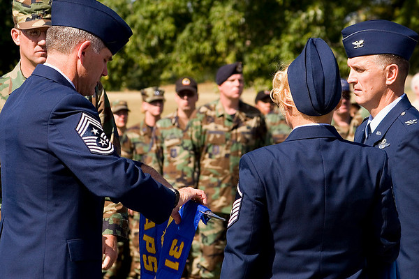 31st Aerial Port Squadron guidon being encased
