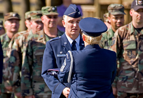 The Honor Guard presents the flag to 913th Airlift Wing Commander, Colonel Jody McMullen; 1.