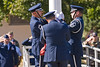 The 913th Airlift Wing Base Honor Guard lowers and folds the US Flag during the Wing's final retreat ceremony; 1