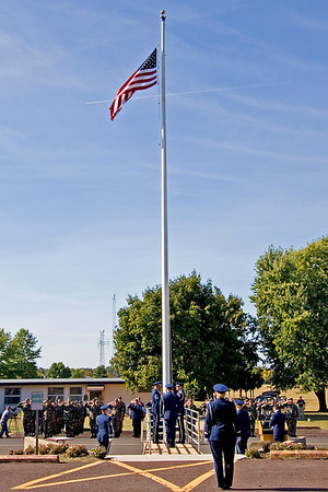 The final retreat ceremony of the 913th Airlift Wing commences