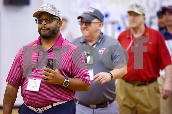 Wounded Warrior participant SSGT Bryon Crawley of the Army walks in with other Wounded Warriors during a program honoring Wounded Warriors at All Saints Episcopal School in Tyler, Texas, on Friday, Sept. 29, 2017. Students and faculty dressed in red white and blue, waved American flags and sang patriotic tunes to honor the Wounded Warriors. (Chelsea Purgahn/Tyler Morning Telegraph)